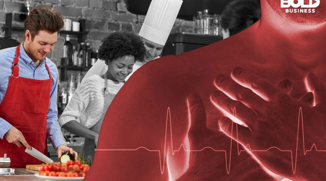 a photo of people participating in heart-healthy cooking classes overlaid with an image of heartbeat diagram and x-ray image of a man's chest