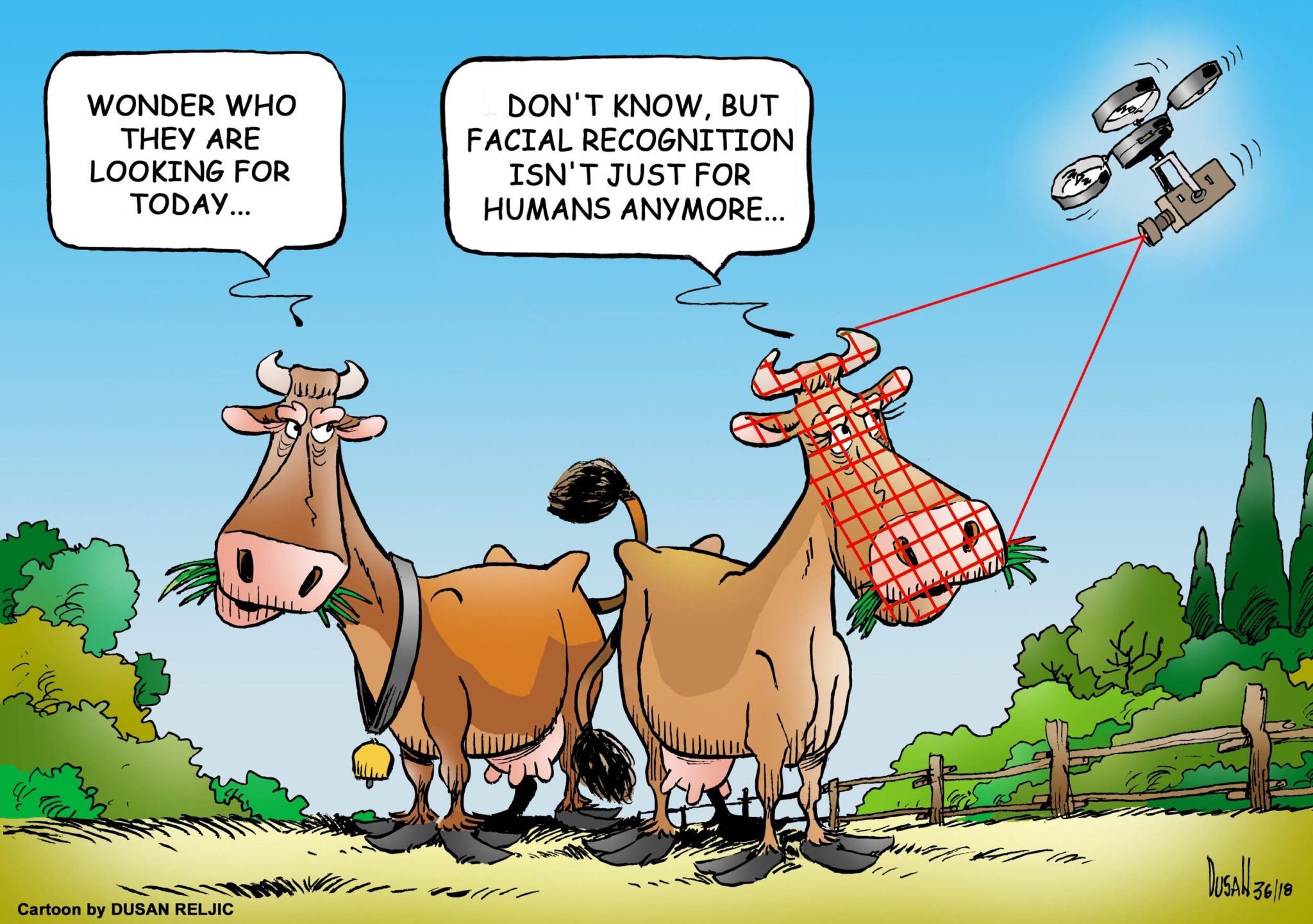 a cartoon of the cattle facial recognition technology.