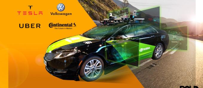 a car with several diagrams showing autonomous driving features