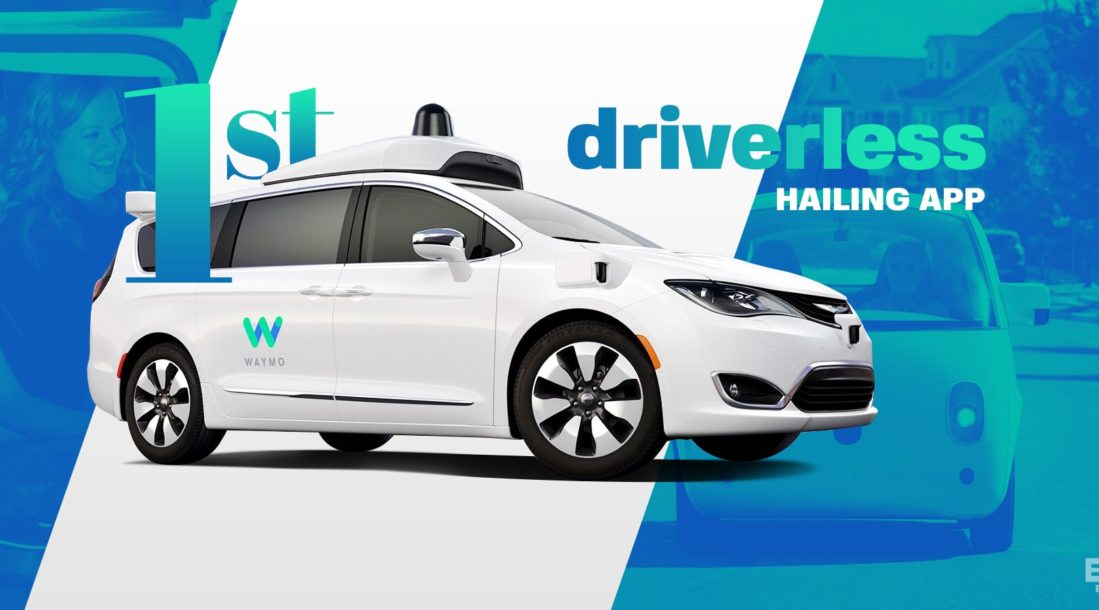 "picture of a Pacifica minivan with the words ""1st driverless ridesharing app"" around it - driverless ride-hailing service"
