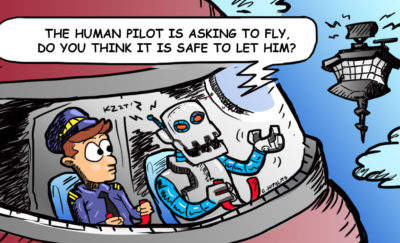 airplane with a human and a robot pilot