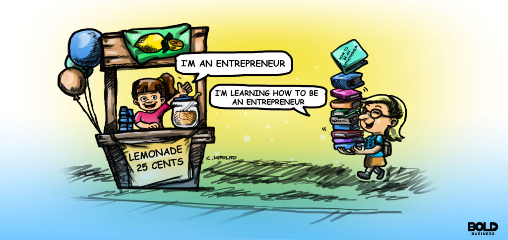 cartoon of a girl at a lemonade stand next to a girl with a stack of books on entrepreneurship