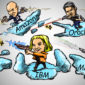 cartoon of leaders of salesforce, ibm, amazon, microsoft and oracle on clouds shooting lasers at one another