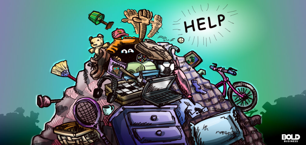 cartoon of someone buried under a pile of stuff waving for help