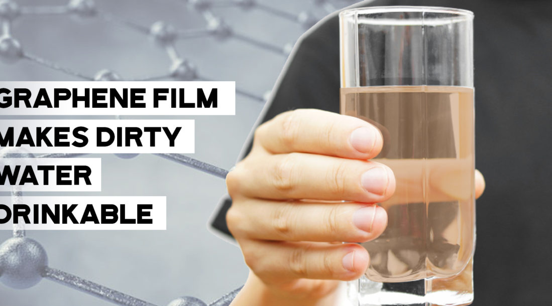 """a photo containing an image of a hand holding up a glass of water with the words """"Graphene film makes dirty water drinkable"""" beside it amid the existence of the Graphair water filter"""