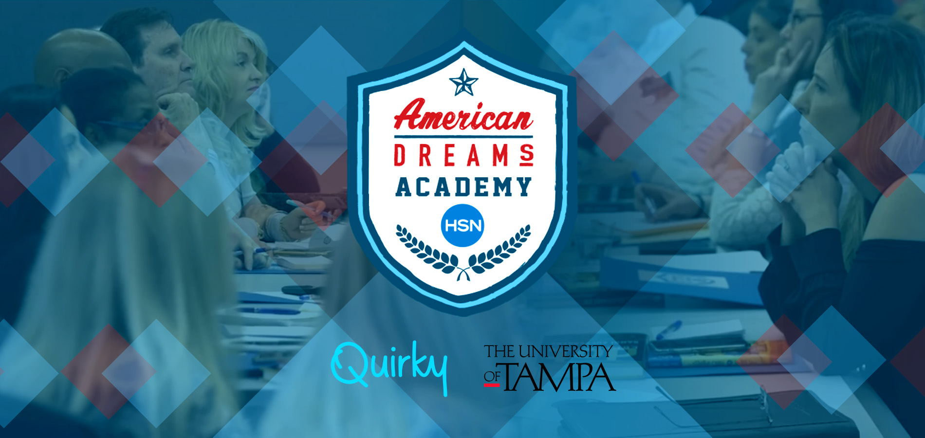 Students at a table with the American Dreams Academy logo superimposed