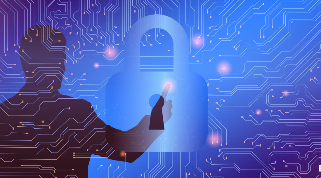 silhouette of a man touching a lock on a screen, an illustration of honeywell cybersecurity sytem