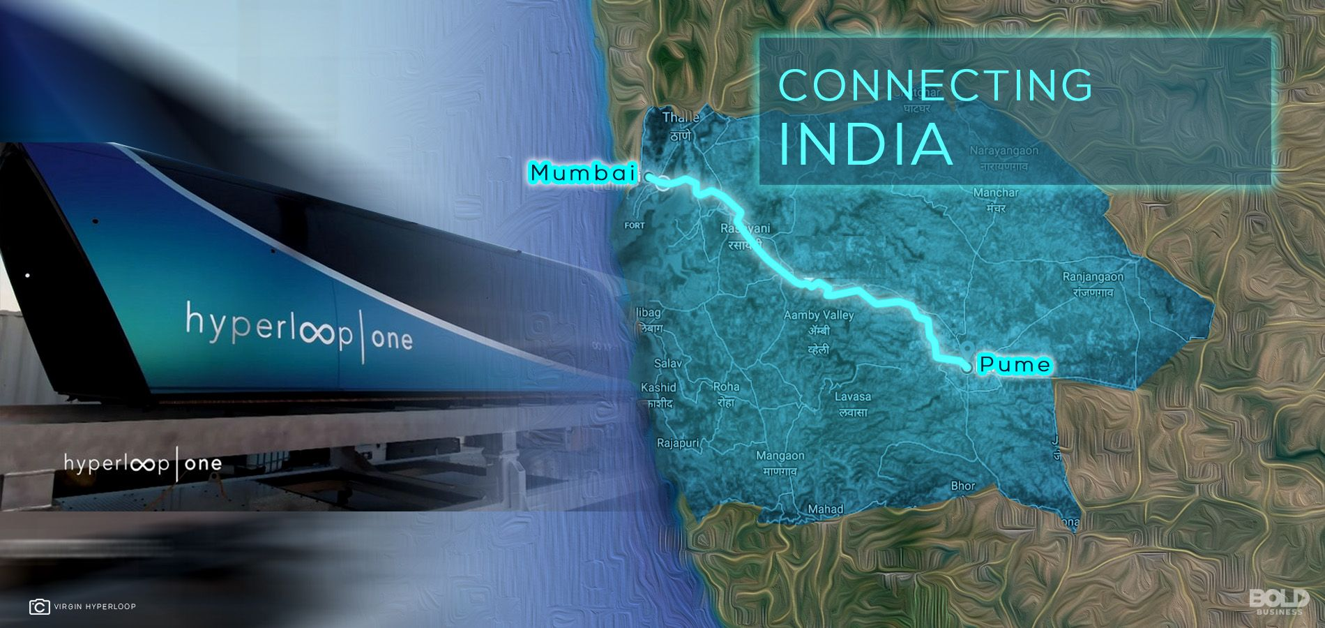 map with a route for the proposed hyperloop in india