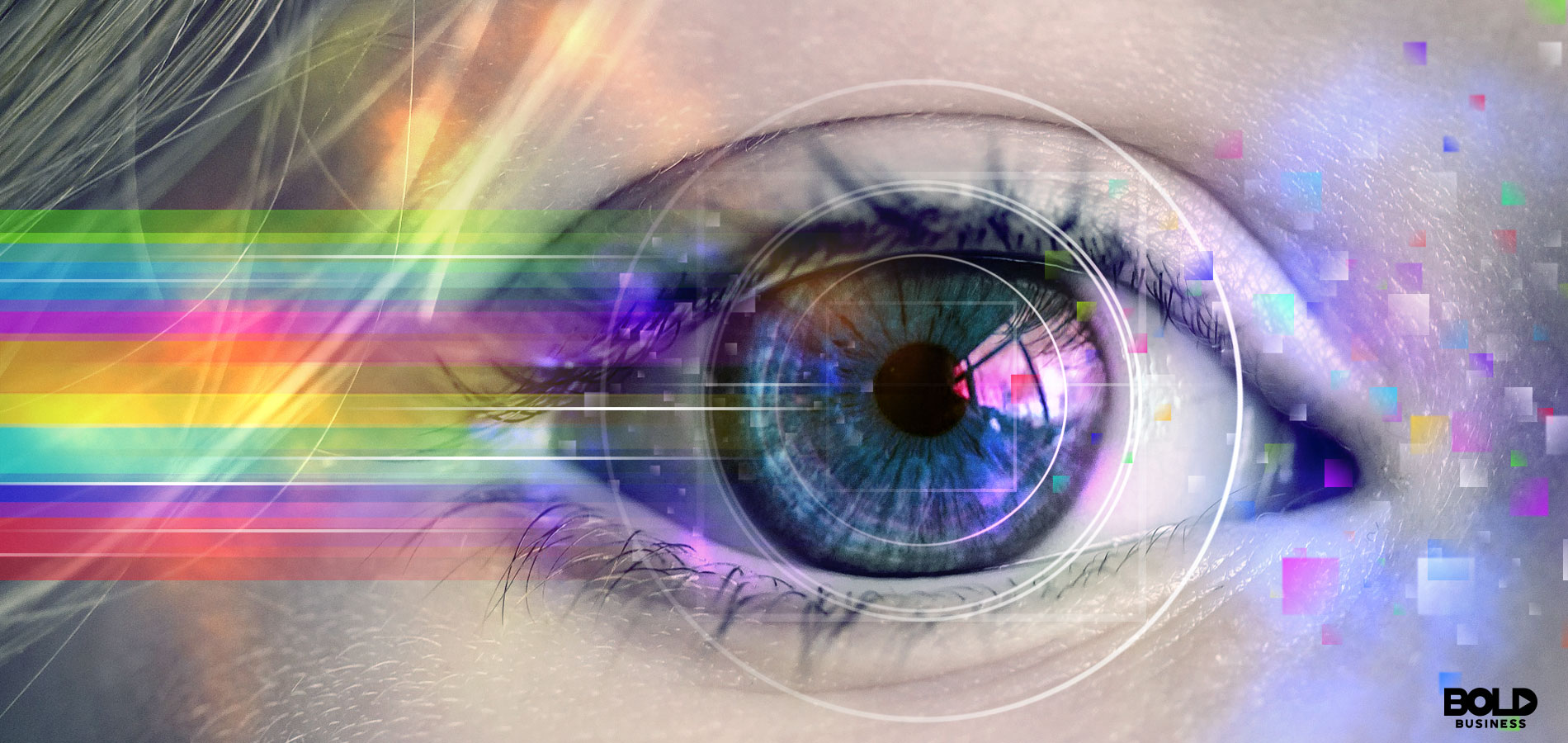 a close up of a woman's eye with a rainbow of colors streaming from it