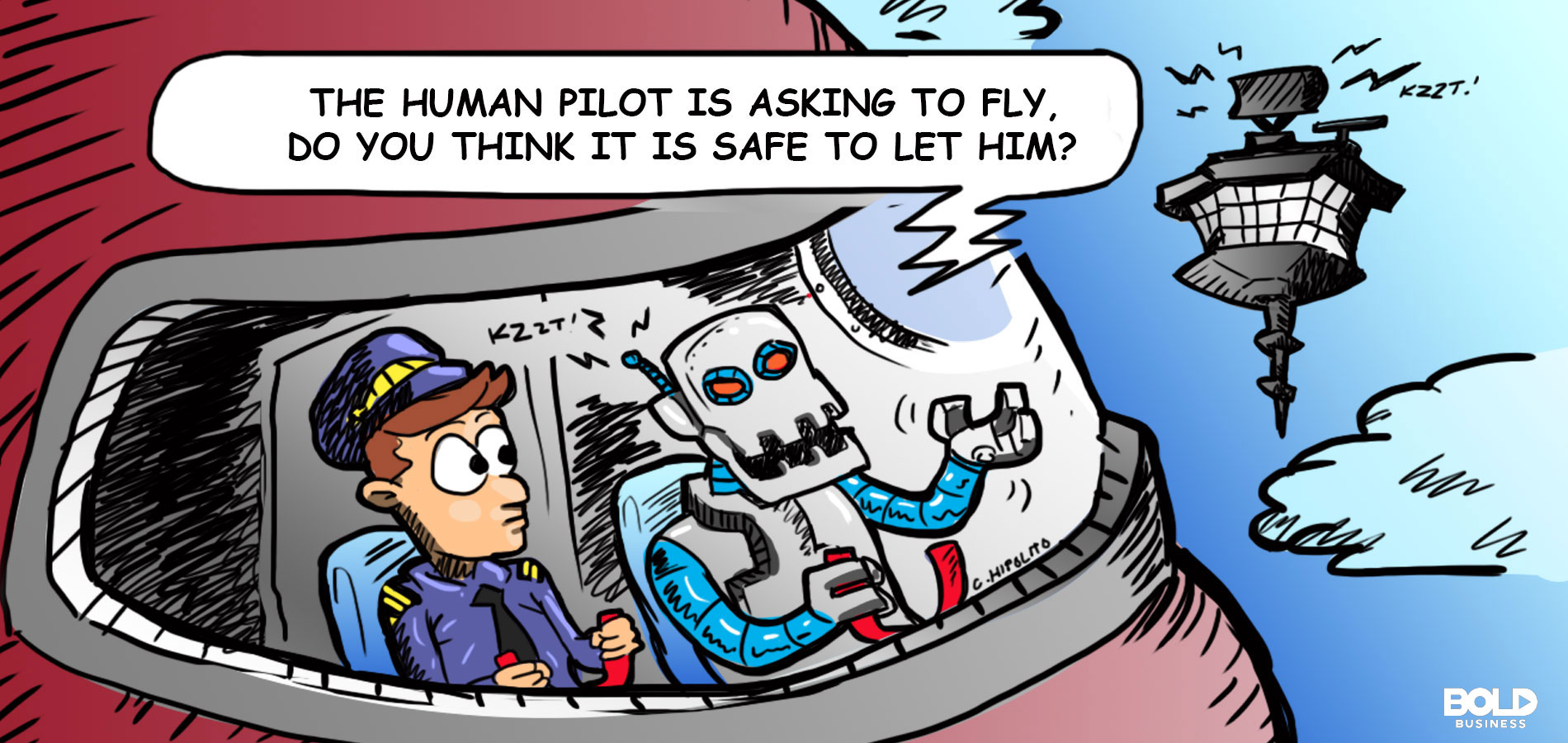 cartoon of an airplane with a human and a robot pilot amid autonomous commercial aircraft