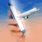 a smartphone with a 3D plane emerging from the screen, the future for travel tech startups