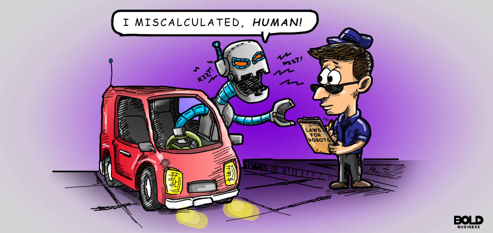 a cartoon showing a robot driving a car and talking to a police officer