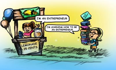 cartoon of a girl with a lemonade stand and another girl with books; both have entrepreneurial skills