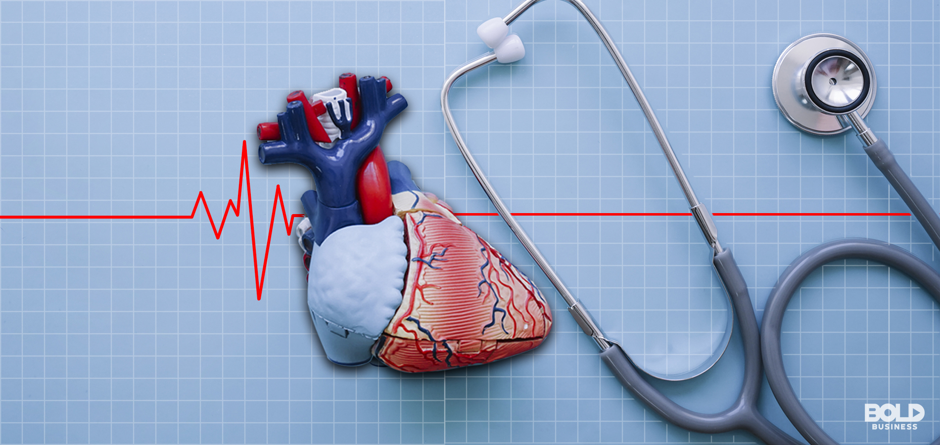 Image of a heartbeat over a heart and a stethoscope
