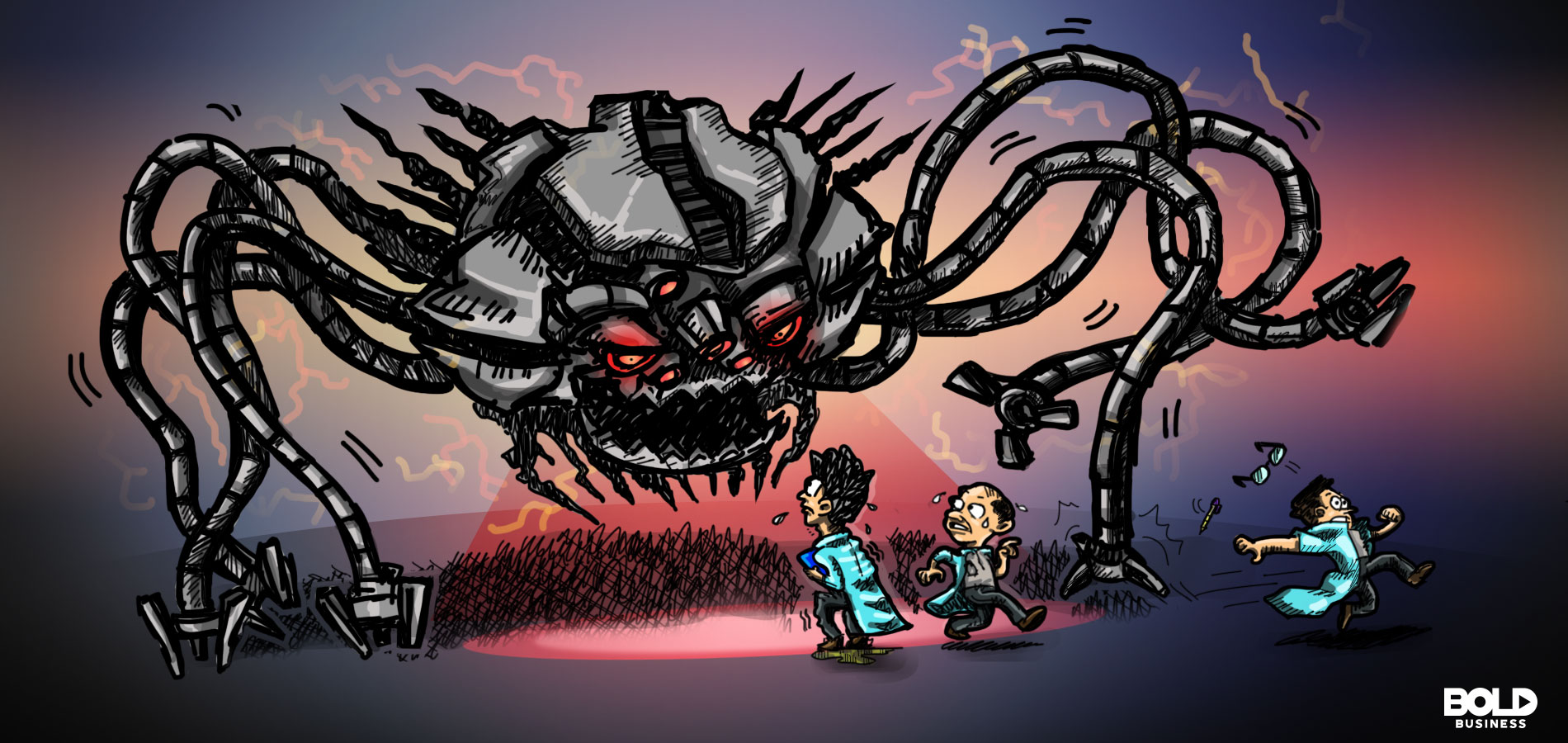 cartoon of a scary-looking spider robot with three scientists running away from it