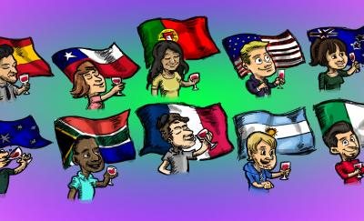 A cartoon of 10 wine drinkers from different countries