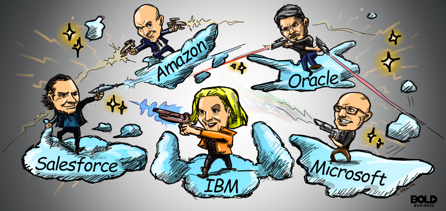 cartoon of leaders of Salesforce, IBM, Amazon, Microsoft and Oracle on clouds while shooting lasers at one another
