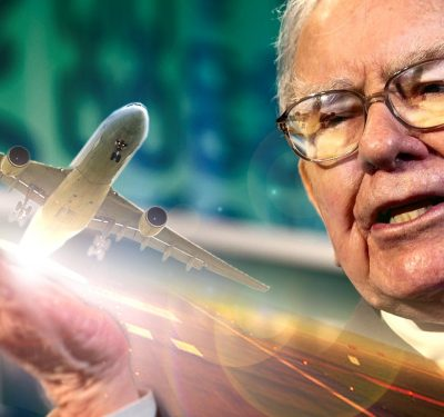 a photo of an airplane and a headshot of Warren Buffett amid the reality of the Warren Buffett Investment Strategy
