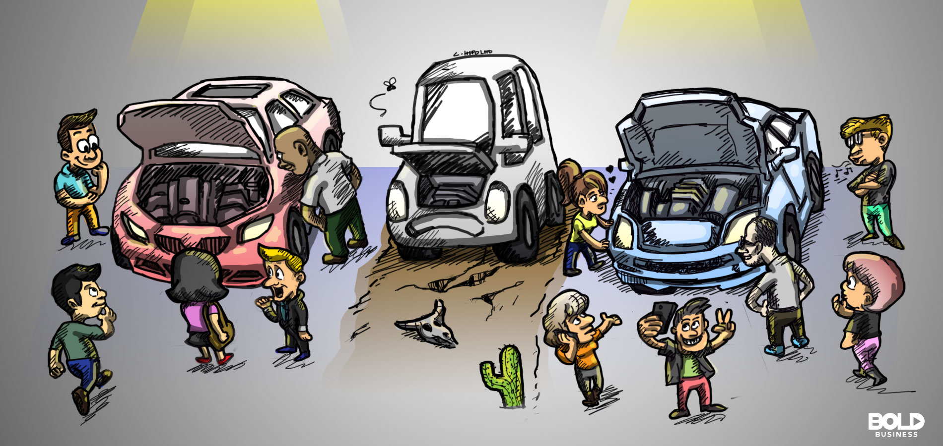 Illustration of three inoperable cars and the frustrated owners of internalcombustion engine vehicles