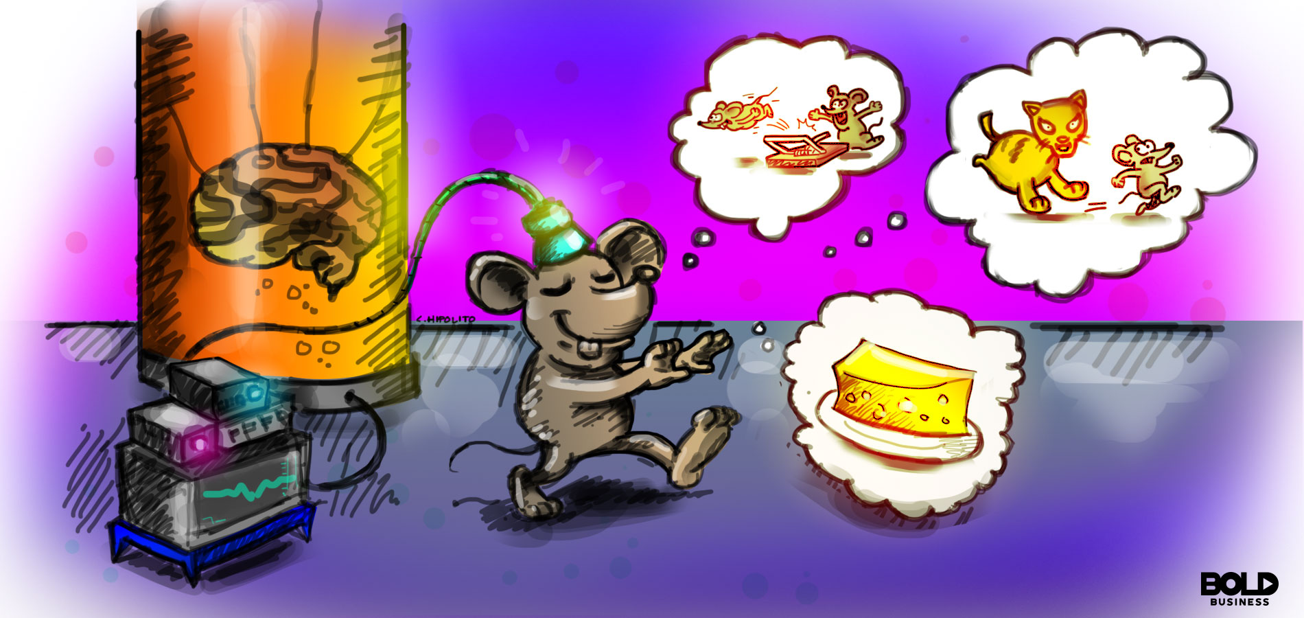 a cartoon of a lab mouse envisioning cheese and cats with the use of memory implantation technology