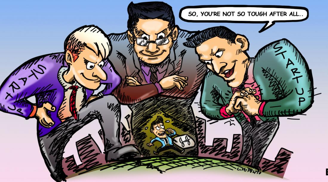 cartoon of three men representing startups looming over J&J amid the development of the Johnson and Johnson innovation strategy