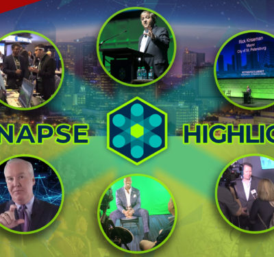 a photo containing a montage of images from the conference with highlights (that is, a sponsored Synapse Sizzler) from the Synapse Innovation Summit 2018