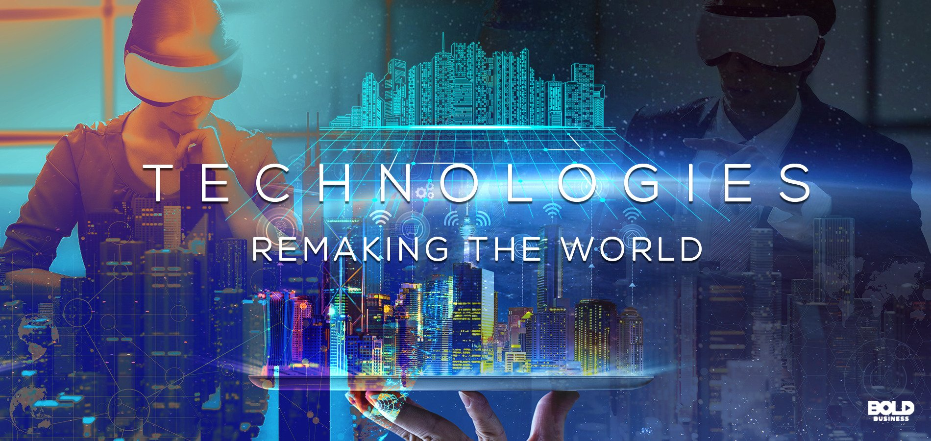 "People wearing VR gear, a digitized cityscape and computer mainframe board overlaid with ""technologies remaking the world"" in text"