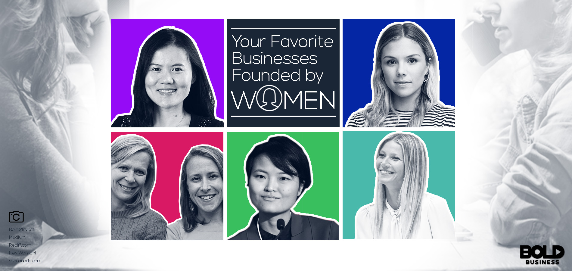 Favorite businesses founded by women and picture featuring 5 of the 20 founders