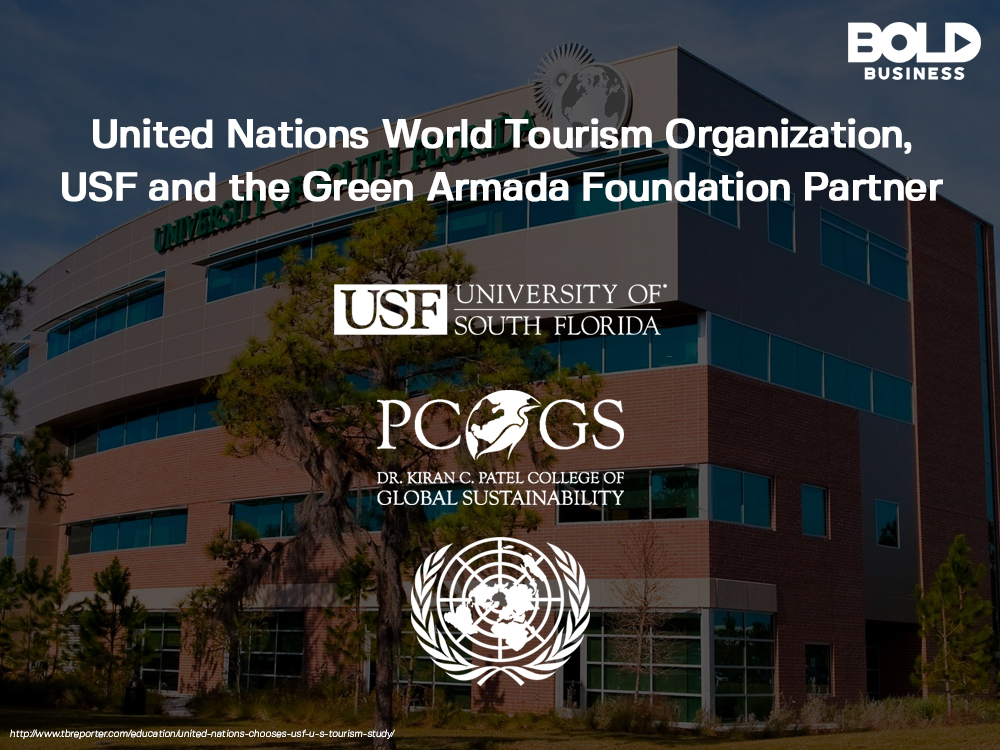 "a chart containing the logo of USF Dr. Kiran C. Patel College of Global Sustainability (PCGs) with the words above it: ""United Nations World Tourism Organization, USF and the Green Armada Foundation Partner"""