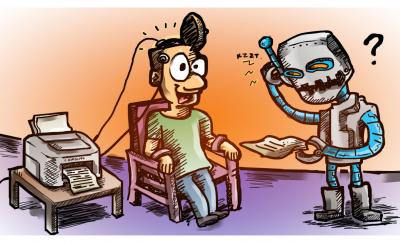 a cartoon of a paralyzed man who is using mind-reading technology with a robot trying to understand the text in a paper