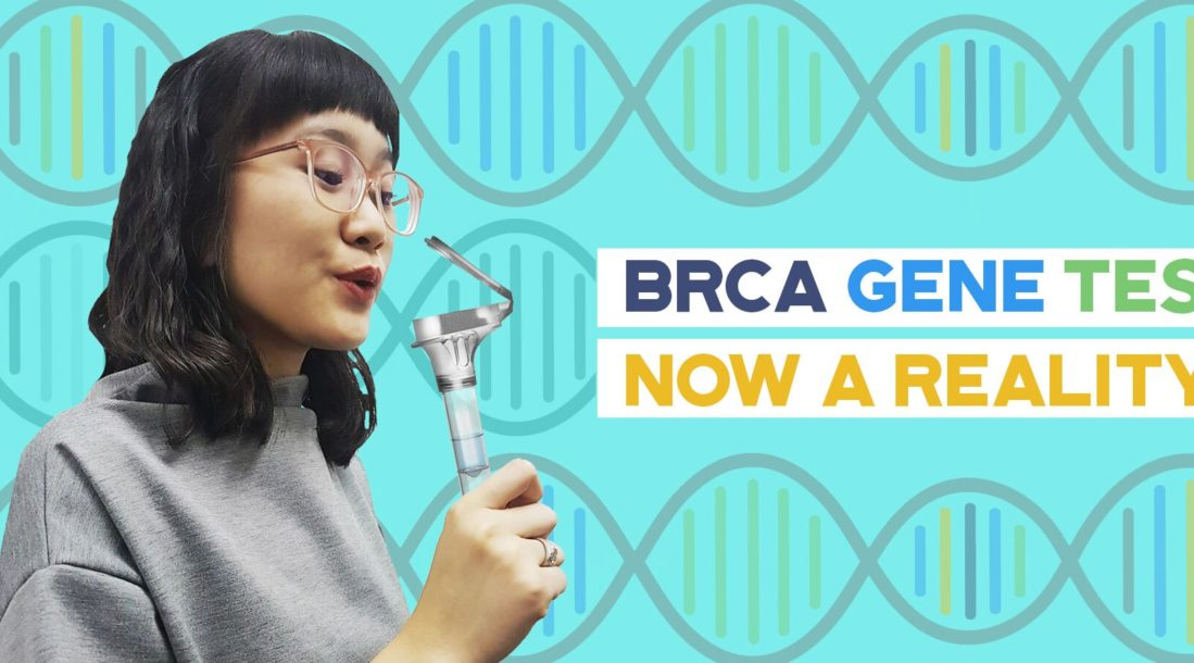 a photo of a woman holding a BRCA Gene Breast Cancer Home Test because of the availability of DTC tests like the 23andMe DNA test