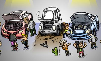 cartoon of people looking at three cars with their hoods open, showing their engines