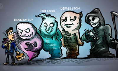 a cartoon of a person experiencing negative wealth shock and facing three ghosts (depicting the stages of financial loss) as well as facing Death