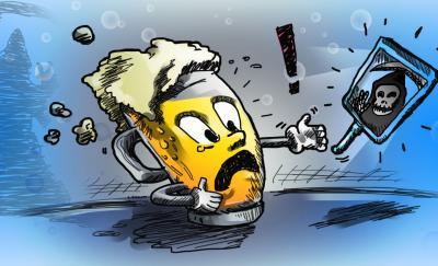 a cartoon of a craft beer battling it lifespan