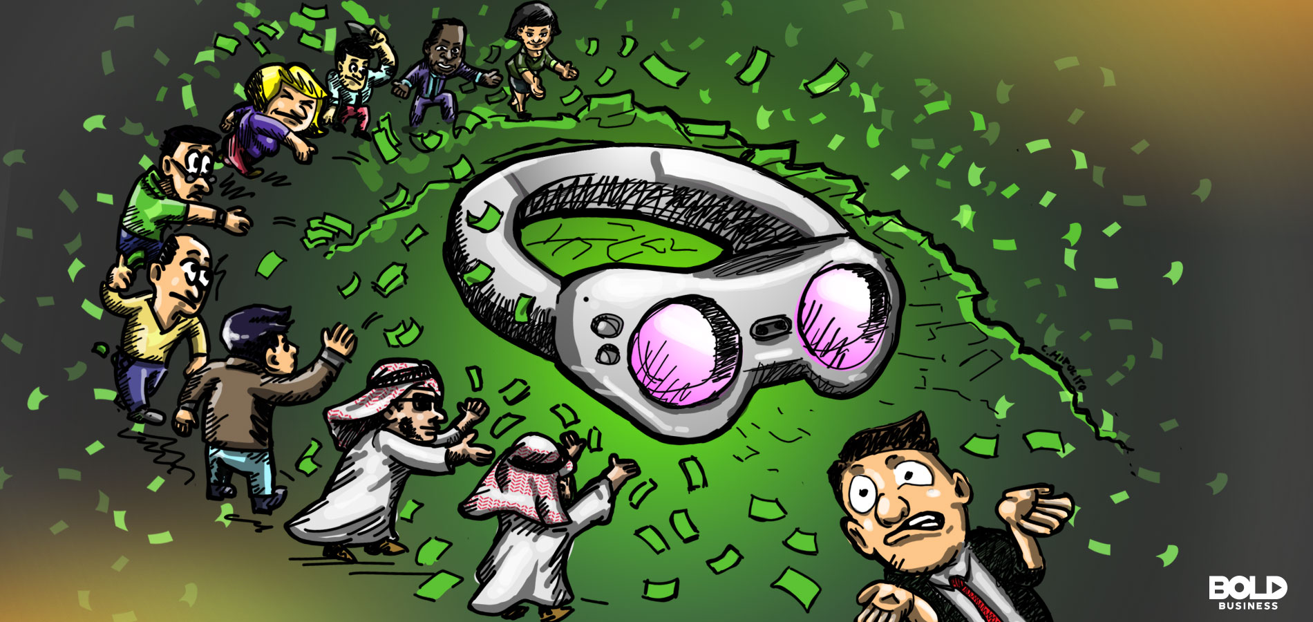 a cartoon of Magic Leap's protoype of augmented reality glasses being surrounded by a group of racially diverse people throwing money at it