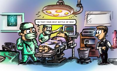 a cartoon of a surgeon and nurse who will do the heart operation, unconscious patient laying in bed and a waiter carrying a bottle of red wine in a silver platter