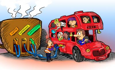 'Will Coffee Grounds Be Fueling Buses And Cars in the Future?' Cartoon