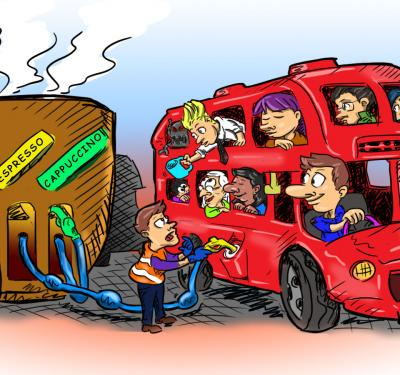illustrated cartoon of coffee grounds biofuel powering up the engine of a double-decker bus