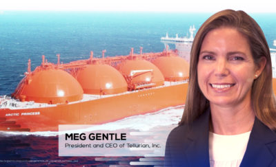 a photo of Meg Gentle, CEO of Tellurian, who has a $24-billion idea to sell more natural gas to the world, in front of an oil-carrying ship sailing the seas
