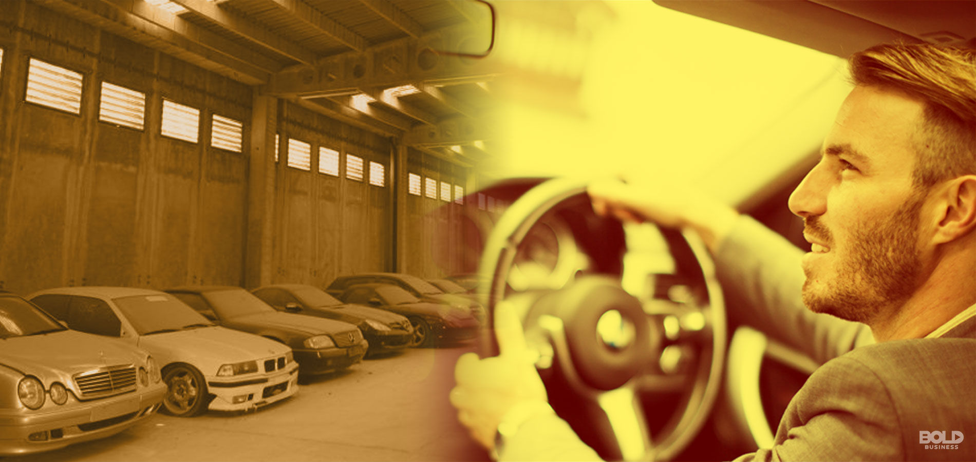 Split Image: dusty cars being stored in a garage on left, man driving an automobile on the right
