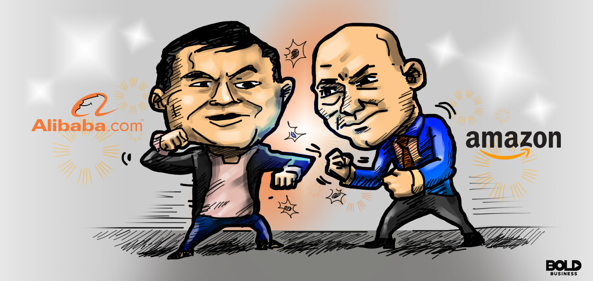 Cartoon of Amazon and Alibaba CEOs with fists up ready to battle