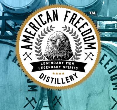 American Freedom logo overlay photo of American Freedom distillery barrels