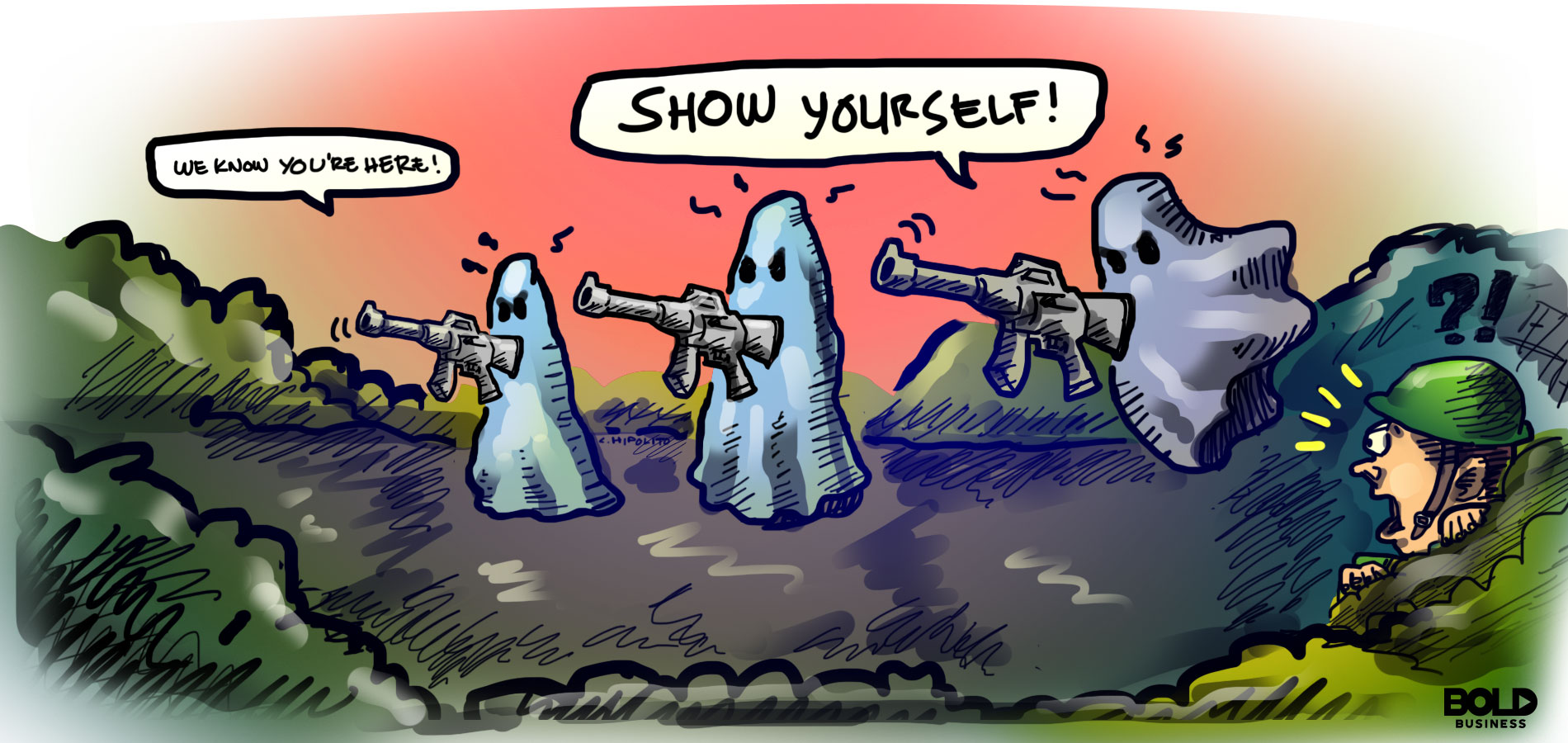 cartoon of ghost soldiers holding guns