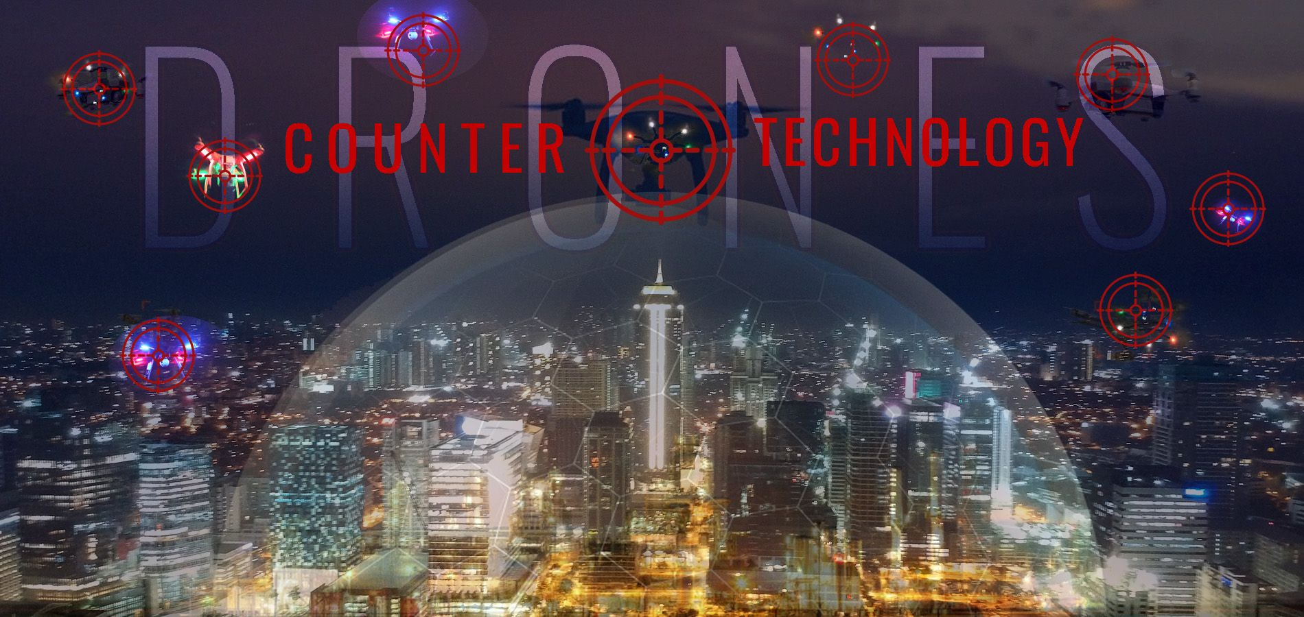 City skyline with targets aimed at drones flying overhead. Text reads