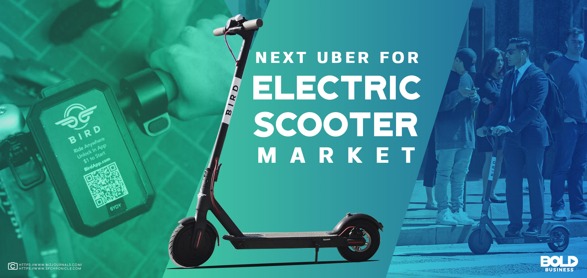 Feature image showing bird scooter, man riding scooter, and text