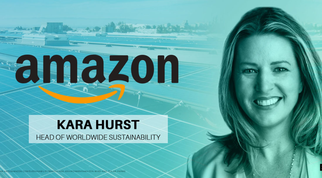 a photo of Kara Hurst who is now Amazon's director of worldwide sustainability and social responsibility, in relation to Amazon sustainability goals