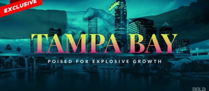"Image of Tampa skyline with hands shaking and text that reads ""Tampa Bay Poised for Women Entrepreneurs Explosive Growth"""