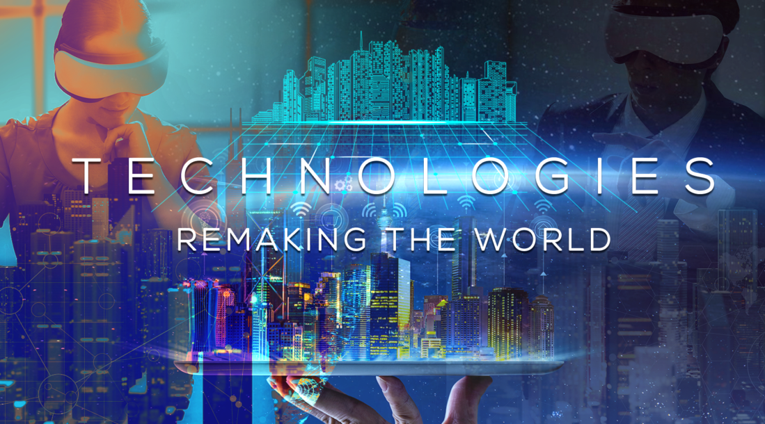 """People wearing VR gear, a digitized cityscape and computer mainframe board overlaid with """"technologies remaking the world"""" in text"""