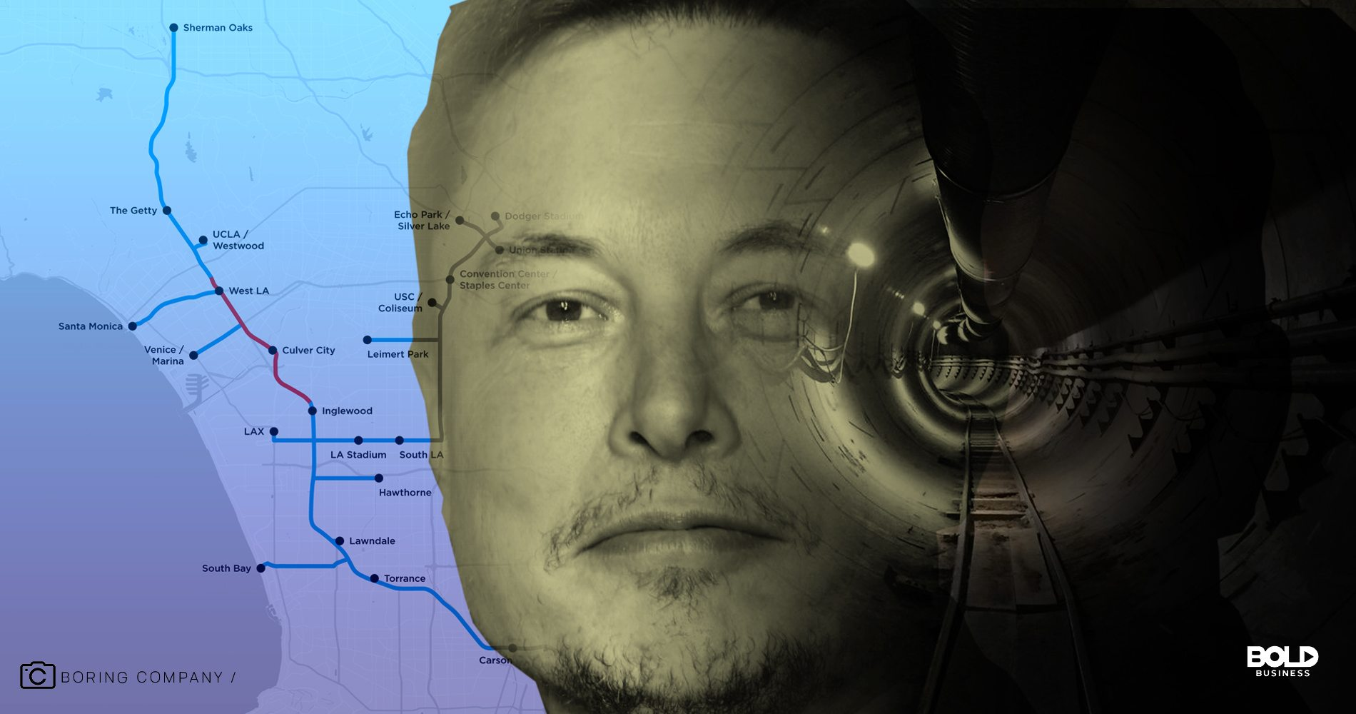 Elon Musk's proposed underground tunnel map