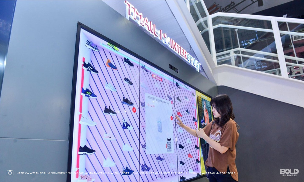 woman chooses shoes from an interactive screen